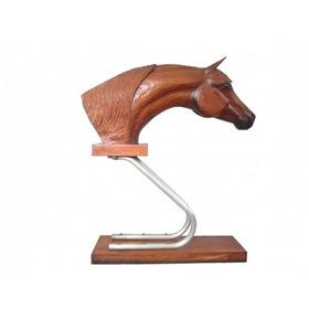 Auri - Imponente Escultura Em Madeira Nobre Patinada Cavalo