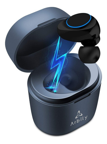 auricular bluetooth manos libres con micrófono portátil azul