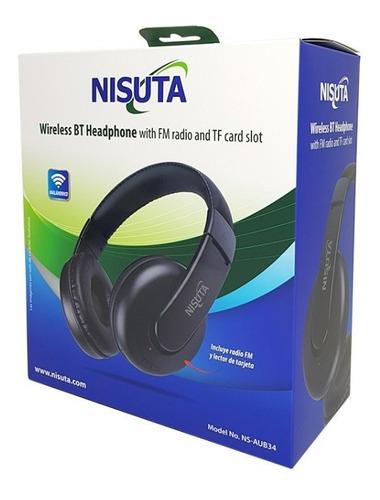 auricular bluetooth nisuta, micro sd + radio fm + mic aub34