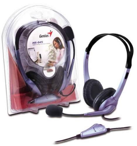 auricular con microfono y control de volumen genius hs-04s