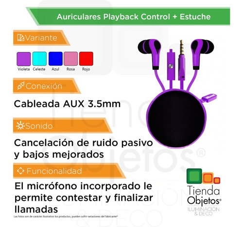 auricular earbud in ear playback control billboard + estuche