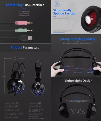 auricular gamer f35 micrófono, vibración y luz (pc-ps4) dj