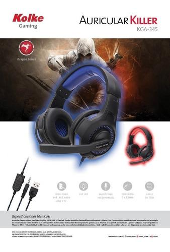 auricular gamer pc microfono led dragon series gaming ps4