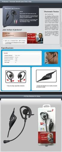 auricular mono genius hs-105, microfono y control volumen