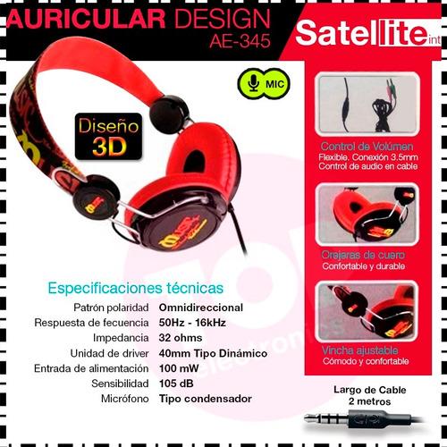 auricular satellite designed ae-345 manos libres para pc mic