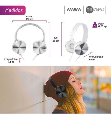 auricular vincha aiwa acabado metalico ava-101 3,5 mic pausa