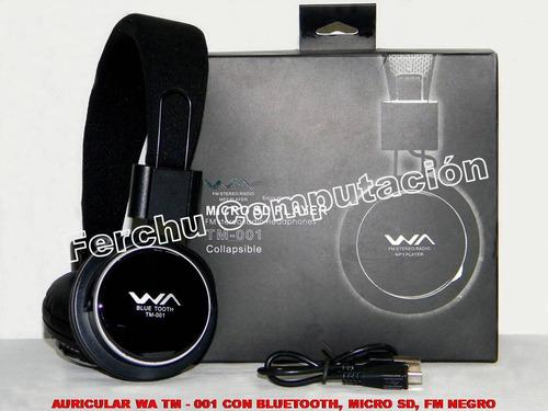 auricular wa tm - 001 con bluetooth,  micro sd, fm