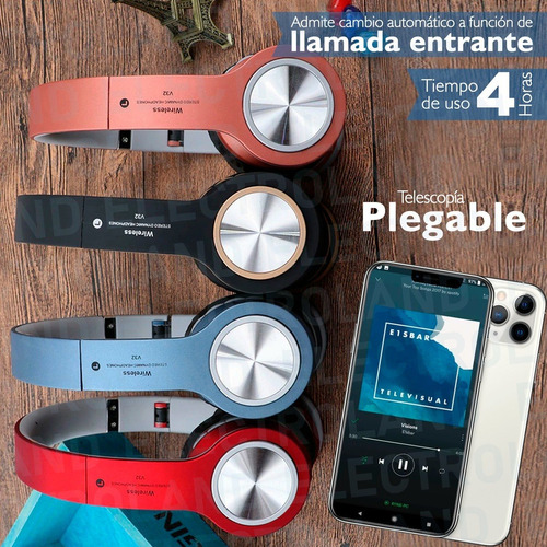 auriculares bluetooth inalambrico plegables sd manos libres