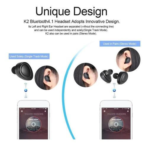 auriculares bluetooth inalambricos in ear twins microfono k2 manos libres caja cargadora microfono android iphone