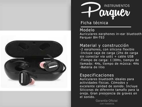 auriculares earphone parquer bluetooth in ear inalambricos