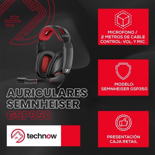 auriculares gamer sennheiser gsp 350, microfono- negro/rojo