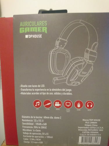 auriculares gamer tophouse