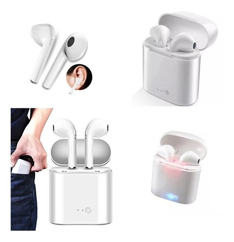 auriculares in ear bluetooth caja recargable i7s inalambrico
