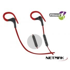 auriculares in-ear bluetooth netmark nm-v6 negro / rojo