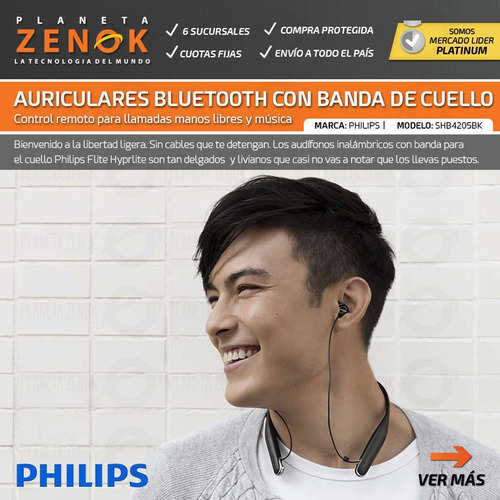 auriculares inalambricos bluetooth philips de cuello in ear