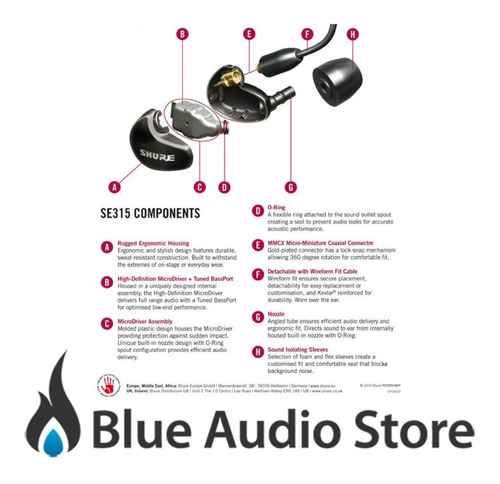 auriculares intraurales shure se315 cl profesional