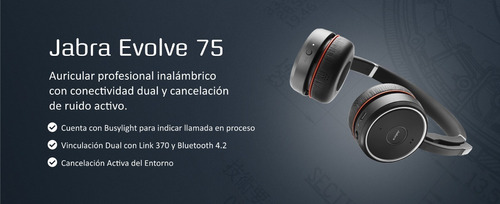auriculares jabra evolve 75 stereo canal oficial jazz pc