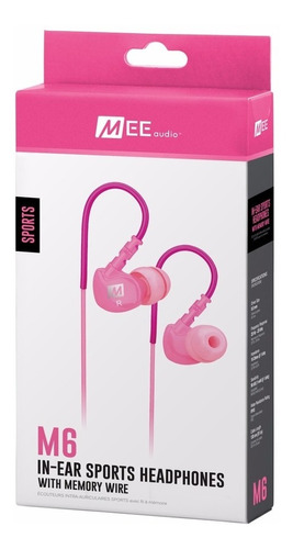 auriculares mee audio m6 sports deportivos gym running pink