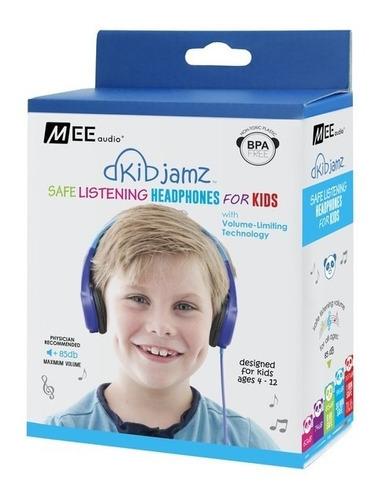 auriculares mee para niños chicos con limitador kj25 azul