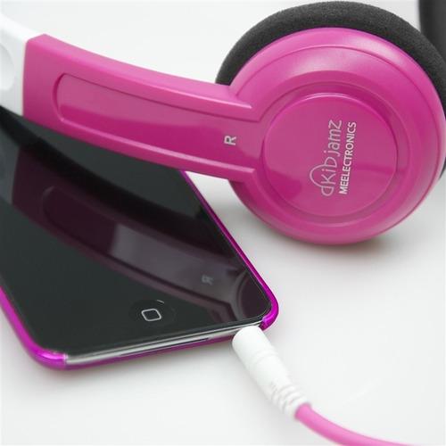 auriculares mee para niños chicos con limitador kj25 rosa