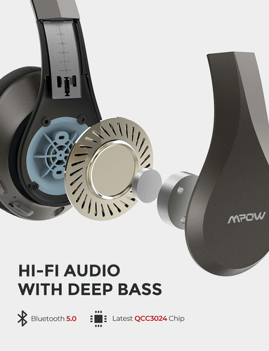 auriculares mpow h20 bluetooth over-ear 30 hrs duracion inalambrico hi-fi deep bass latest cvc 8.0 con mic confortable e