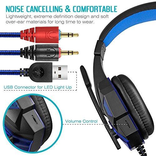 auriculares para juegos con micrófono y luz led para comput