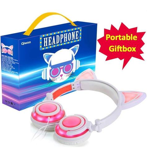 auriculares para niñas con oreja de gato rosa con blanco