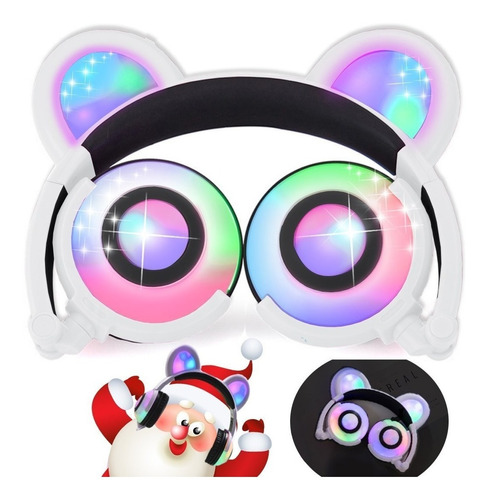 auriculares para niños con oreja de oso blanco