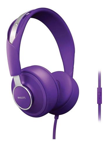 auriculares philips vincha microfono violeta