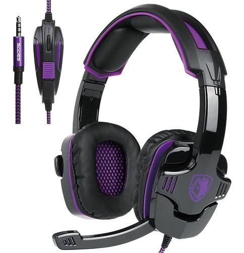 auriculares p/videojuegos sades sa-930 3.5 mm negro y rosa