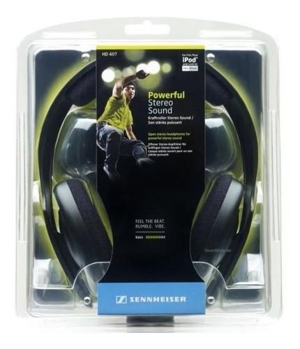 auriculares sennheiser hd407 abierto hi fi estudio dj mp3