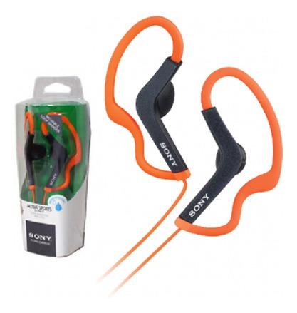 auriculares sony mdr as200 naranja. resistente al agua