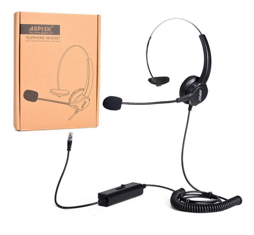 auriculares teléfono fijo cableados dual, agptek 4-pin rj9
