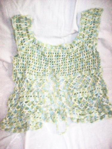 aurojul chaleco s/mangas diseño tejido crochet hilo-