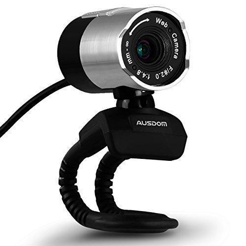 ausdom hd 1080p webcam usb cámara web portátil gira 360 g...