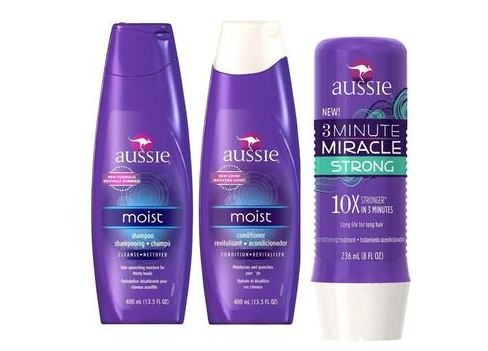 aussie kit moist shampoo+ condicionador + 3 minutos miracle