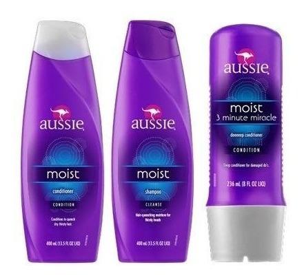 aussie kit shampoo condicionador mascara moist 3 minutos