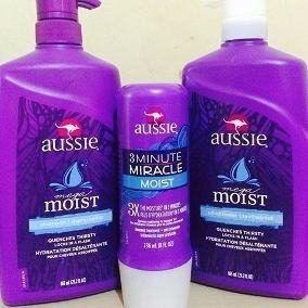 aussie moist shampoo, condicionador 865ml + 3 minute 236ml