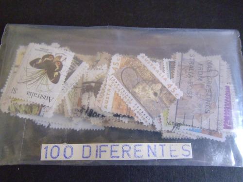 australia - 100 estampillas diferentes seleccionadas