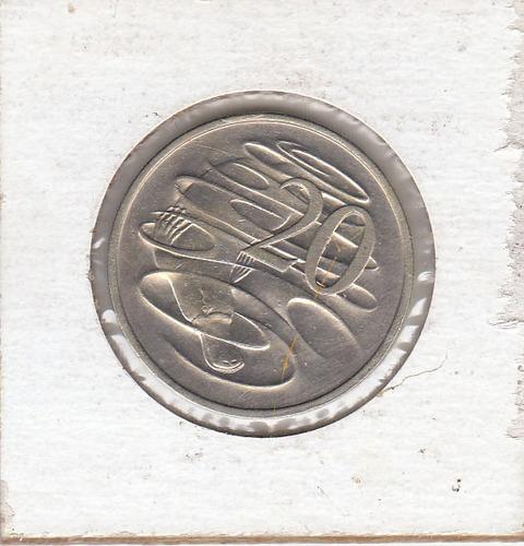 australia,  antigua moneda de nickel 20 cents.1.980