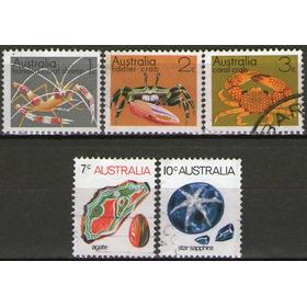 Australia Serie X 5 Sellos Fauna Marina Y Minerales Año 1973