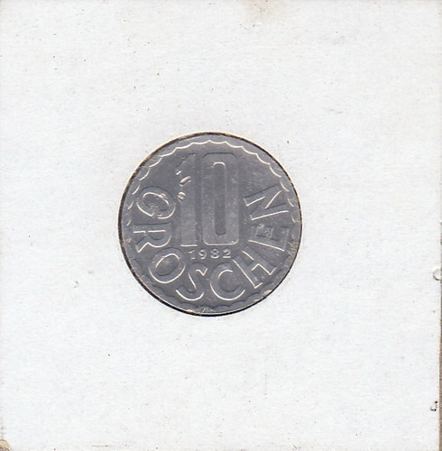 austria,  antigua moneda de nickel 10 groschen 1.982