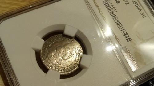 áustria - moeda de prata medieval 3 kreuzer - ngc - ano 1670