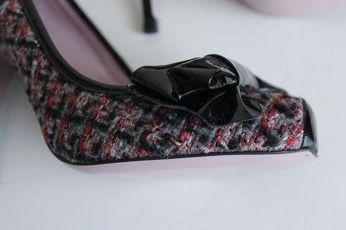 autenticos zapatos taco alto tweed y cuero red valentino 39