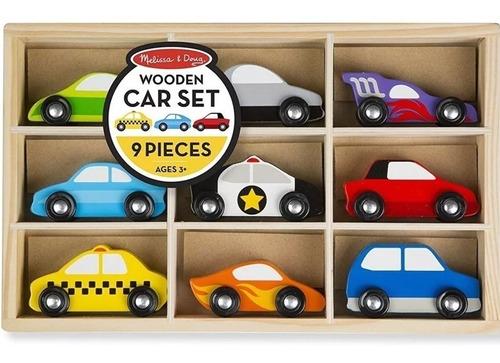 autitos de madera juguete didactico 9 autos + transportadora