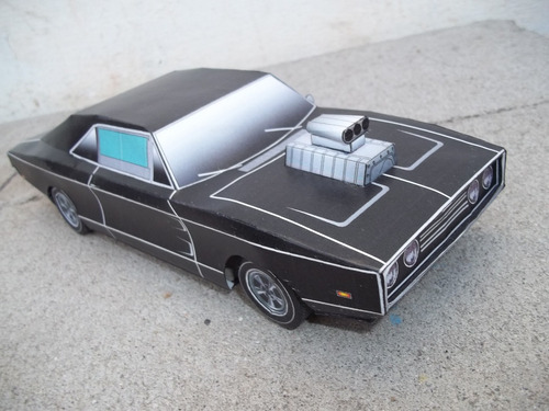auto a escala dodge charger 1969 1/24 armado en papel