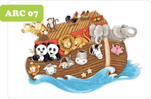 auto adesivo infantil arca de noé - parede guarda roupa 8m²