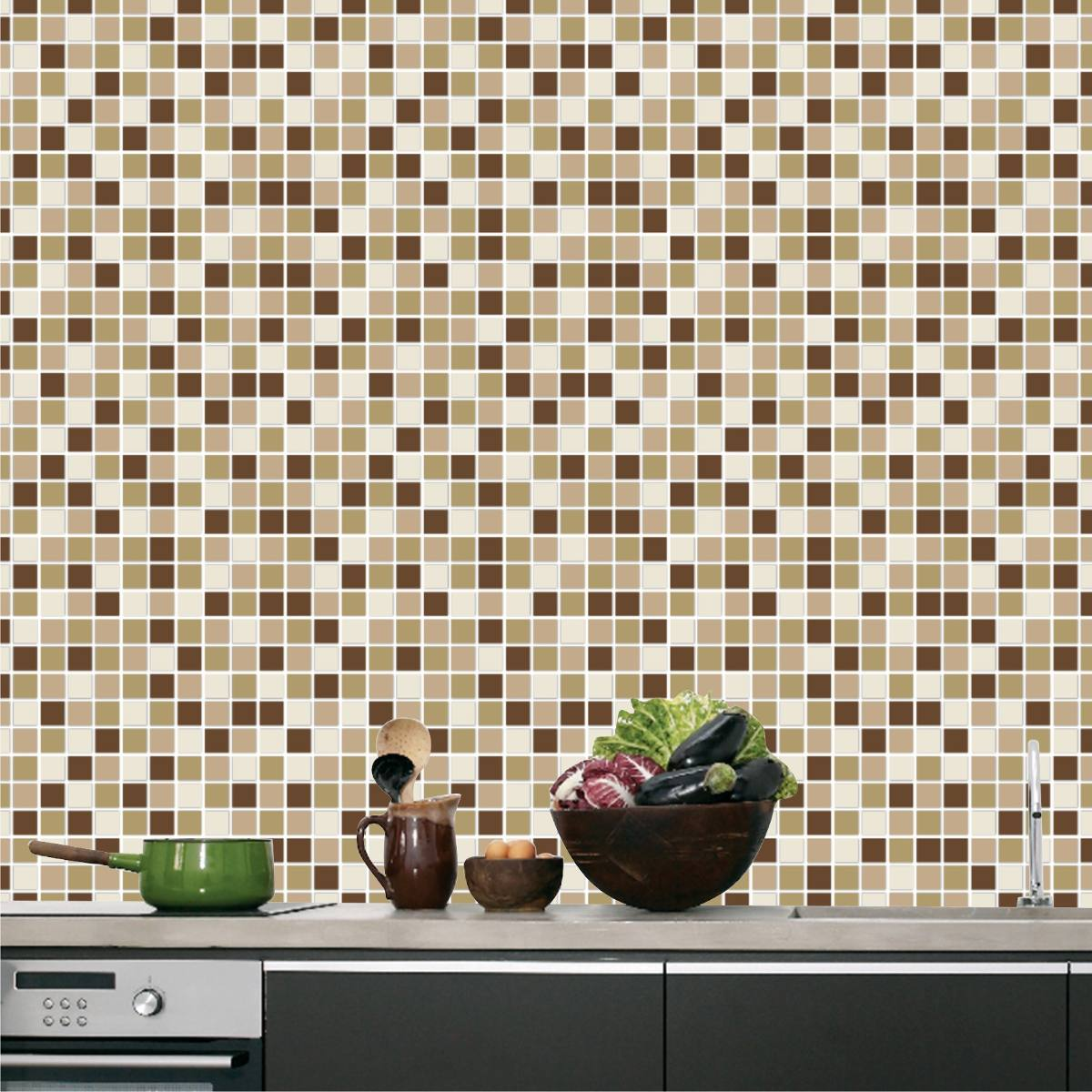 Auto adesivo pastilhas papel parede cozinha lav vel for Papel vinilico para pared