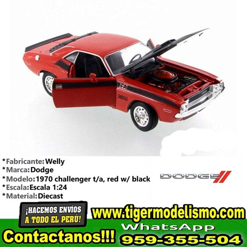 auto escala 1970 dodge challenger t/a welly 1/24 sku: 270