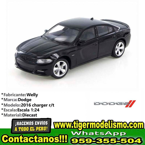 auto escala 2016 dodge charger r/t black welly 1/24 sku: 285